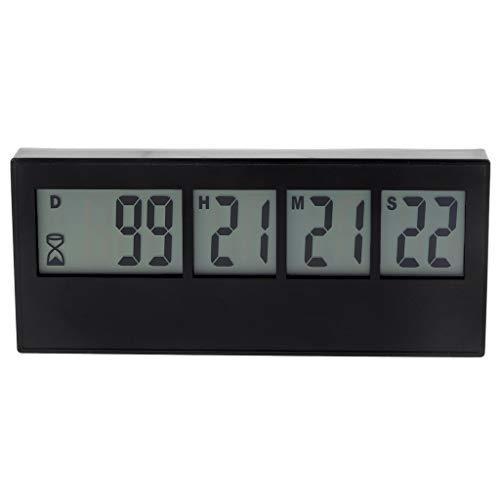 Vxhohdoxs 999 Tage Countdown Uhr LCD Digital Bildschirm Küche Timer Event Reminder für Hochzeit Ruhestand Labor Kochen Küche Bewässerung Schwarz