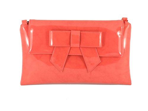 LONI Damen Clutch Tasche mit Schleife in Lack Kunstleder in Marine Blau Korallen Orange
