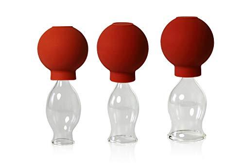 Lauschaer Glas 3er Schröpfglas Set mit Ball 15-20-25mm zum professionellen, medizinischen, feuerlosen Schröpfen mundgeblasen, handgeformt, Schröpfglas, Schröpfgläser, Original