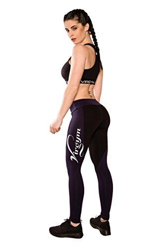 Dark Aubergine (Virgym Epic Force Dark Aubergine Tights | Sport Leggings Damen | Figurformende Leggins für Sport Fitness Gym Training & Freizeit | Sporthose - Workout Trainingshose (medium))