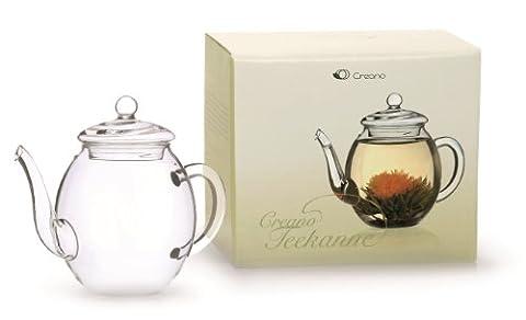 Creano Teekanne aus Glas mit Deckel für 500ml Tee aus Teeblumen, Teerosen und losem Tee sowie Teebeuteln   hochwertig, hitzebeständig