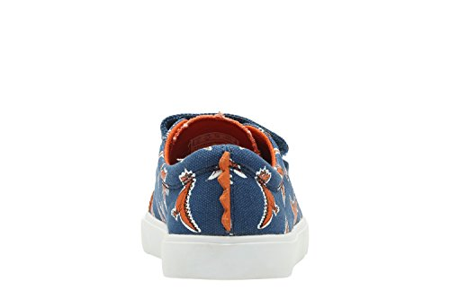 Clarks Tricer Roar, Baskets mode garçon Toile bleue à motifs (Blue Canvas Print)