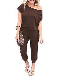 7f3152f04d9e3 Angashion Women s Jumpsuits - Crewneck One Off Shoulder Short Sleeve  Elastic Waist Romper Playsuits with Pockets