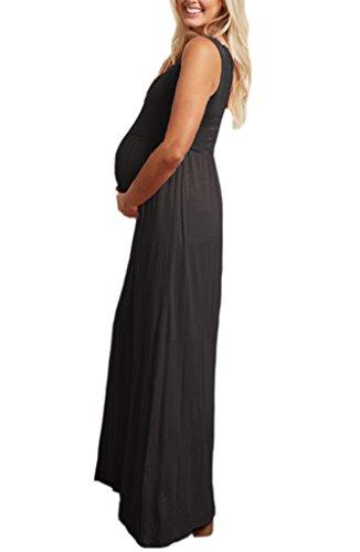 Liu & Qu - Robe spécial grossesse - Taille empire - Sans Manche - Femme Noir