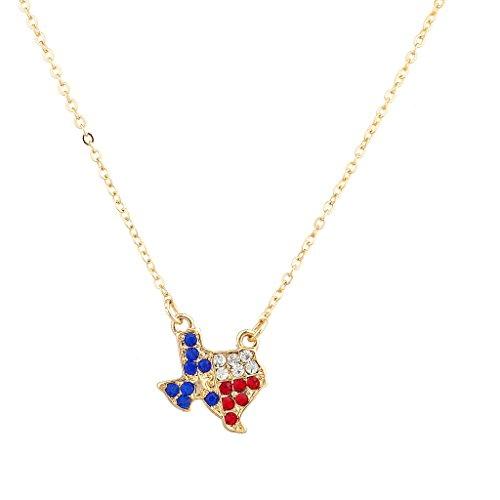 Lux cristallo Texas Pride accessori da Lone Star, colore: rosso, Bianco e Blu, Austin membro Outline-Collana con ciondolo