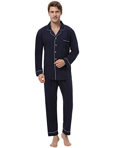 Aiboria uomo pigiami due pezzi, uomo pigiama lungo in cotone da scozzese,set pigiami da uomo