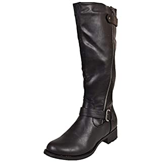 Ajvani Womens Ladies Low Block Heel Chunky Zip Buckle Calf Biker Riding Boots Size 6 39