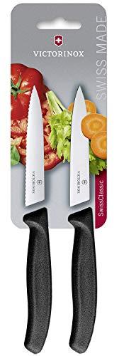 Victorinox Swiss Classic 2-tlg. Gemüsemesser-Set, 1 x Normaler Schliff, 1 x Wellenschliff, 10 cm Klinge, Mittelspitz, schwarz -