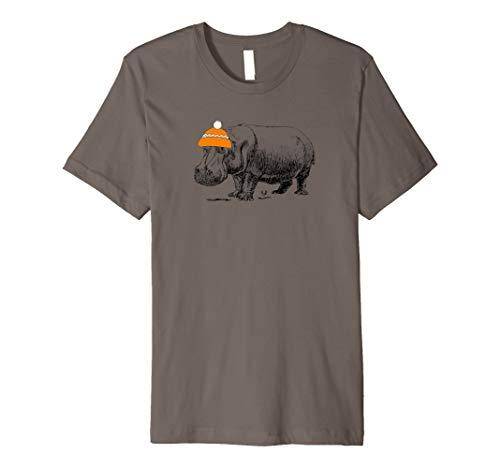 Hippo tragen eines orange Mütze Weihnachtsstrumpf Hat T-Shirt