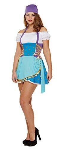 Damen Sexy Zigeunerin Wahrsagerin Pirat Halloween Fancy Kleid Kostüm Outfit - Blau, ()