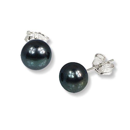 SilberDream Damen-Ohrstecker Süßwasser-Zuchtperle Qualität AA schwarz 7mm 925 Sterling Silber SDO107S (Süßwasser Schwarz Perle Ring)