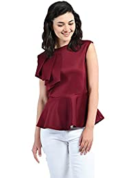 fd097cf89cf AARA Presents Maroon Solid Peplum Top/Shirt for Women's with Round Neck and  Sleeveless Top