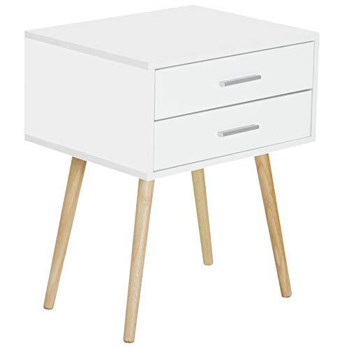 HOMCOM Nachttisch Nachtschrank Nachtkommode Konsole Beistelltisch 2 x Schublade Holz Weiß + Natur 48 x 40 x 60 cm