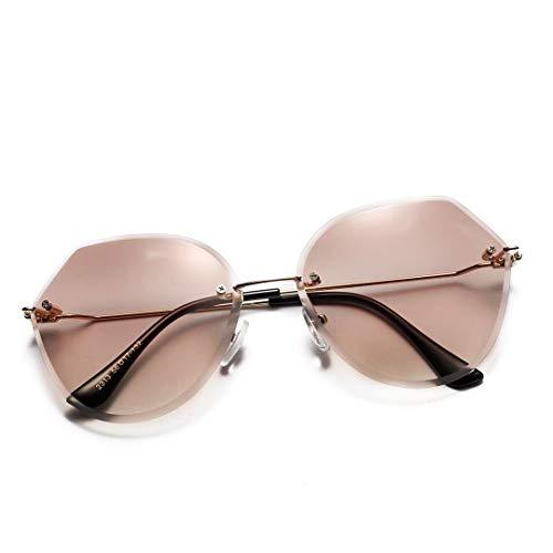 WULE-RYP Polarisierte Sonnenbrille mit UV-Schutz Crystal Cut Edge - Transparente Polygon-Sonnenbrille, kein Rahmen. Superleichtes Rahmen-Fischen, das Golf fährt (Farbe : Braun)