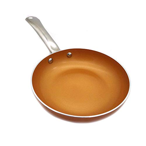 WPCBAA 8-Zoll-Kupfer-Runde Bratpfanne Antihaft-Induktionsbratpfanne-Küchen-Kochgeschirr, 2,5 mm dick, spülmaschinenfest