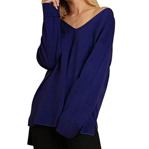 ESAILQ Frauen Volltonfarbe V-Ausschnitt Langarm Tops Bluse T-Shirt(M,Blau)