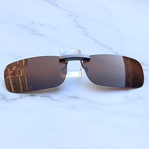 Sonnenbrille Clip Sonnenbrille polarisierte Gläser Myopie Angeln Flut Männer und Frauen Nachtsichtbrille Clip Weiß Quecksilber (Metall Myopie Rahmen), Braun (Kunststoff kurzsichtig Rahmen)