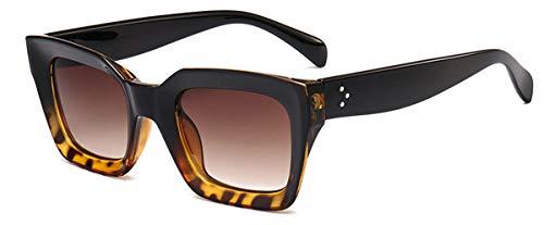 DYFDHA Sonnenbrillen Square Small Retro Sunglasses Women Cat Eye Brand Designer Sun Glasses 90S Ladies Rivet Clear Shades Eyeglasses UV400 black leopard