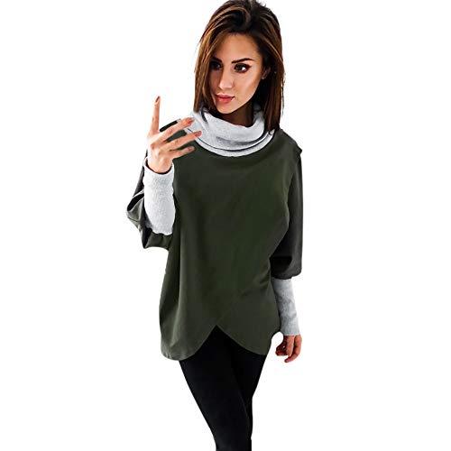 TianWlio Hoodie Pullover Damen Sweatshirt Langarmshirt Bluse Kapuzenpullover Frauen O-Ausschnitt Solide Langarm Rollkragenpullover Pullover Tops Bluse