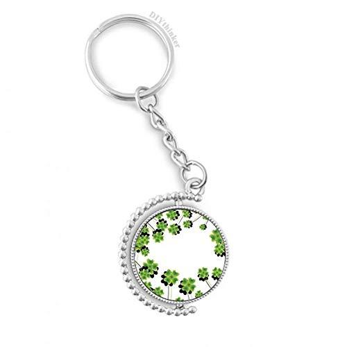 DIYthinker Vier Blatt-Kreis Irland St.Patrick Tag Drehbare Schlüsselanhänger Ringe 1.2 Zoll x 3.5 Zoll Mehrfarbig -