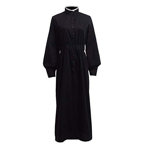 GRACEART Pionier Damen Kostüm Prärie Kleid Dienstmädchen Mädchen Kostüm Einteiliges Viktorianische Zofe (Schwarz(Reine Baumwolle), Medium)