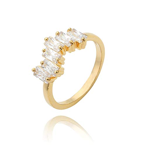 Adisaer Damenring Edelstahl Ring Gold Damen Gold Unregelmäßiger Zirkonia Ring Weiß Rechteckschliff Zirkonia