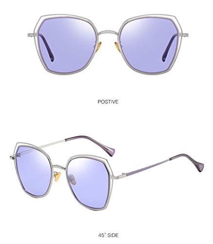 Sonnenbrille,Sonnenbrille Metall Women's Square Polarisierte Gläser Lila Objektiv