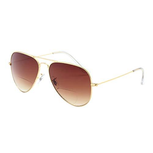 LianSan Bifocal Sunreaders für Herren Damen 70er / 80er Jahre Retro Designer und Aviator Style Sonnenbrille Shades UV400 Objektiv L8022 (gold, 350Dioptre)