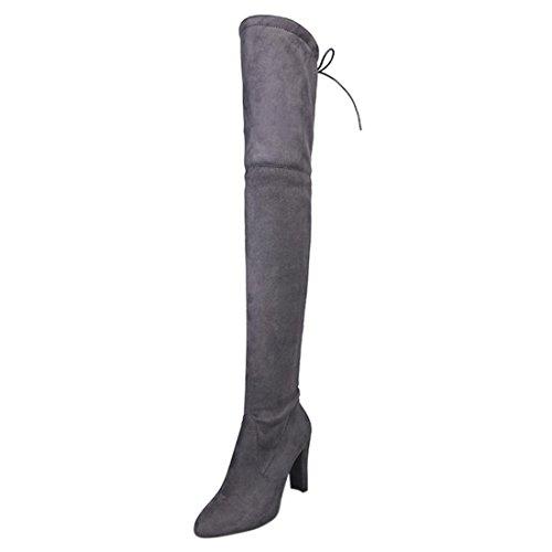 Knie Stiefel Damen Winter Btruely Frau High Heels Stiefel Herbst Schuhe Mode Mädchen Dicke Stiefel Warme Schuhe Slouchy Stiefelf Hohes Bein Schuhe Wildleder Lange Stiefel (40, Grau) (Wildleder Slouchy Boot)