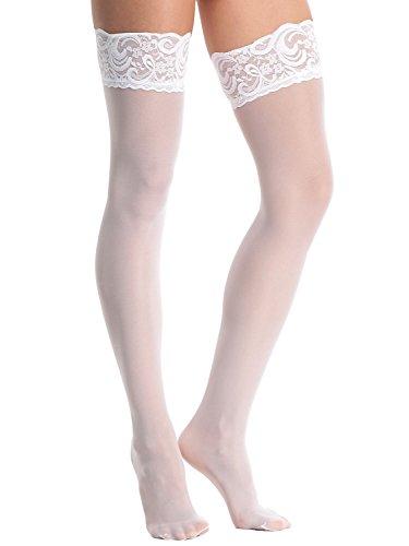 AMORETU Damen Thigh High Halterlose Sheer Strümpfe mit Spitze Weiß
