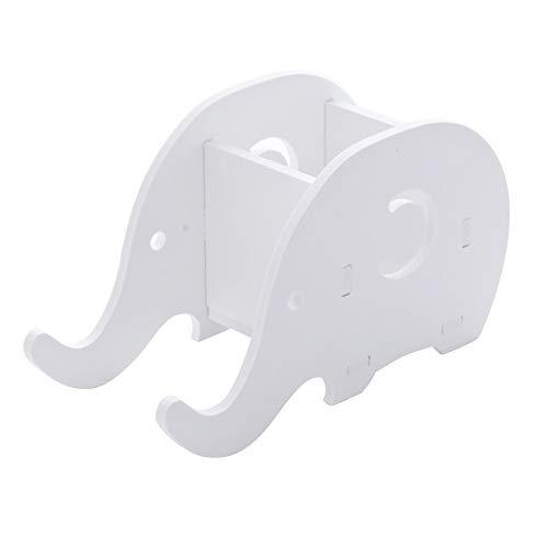 ungsmaterial-Organisator, Elefant-Form Schreibtisch-Bleistift-Stifthalter-hölzerner Plastikbrett-Briefpapier mit Handy-Standplatz Für das Büro ()