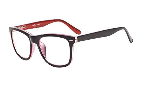 EyekepperDamen und Herren lesebrillen mit Große QuadratischeGläsern und Federscharniere in Schwarz-Rot+0.75