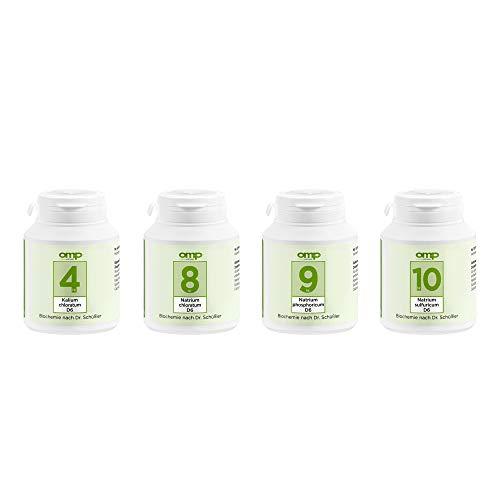 Schüssler Salze Stoffwechsel-Kur   Abnehm-Kur   Nr. 4, 8, 9, 10 je 400 Tabletten   glutenfrei