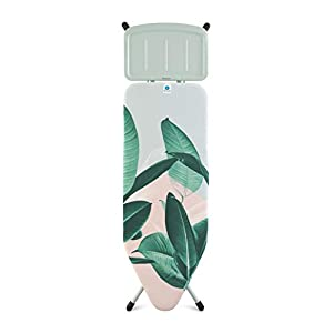 Brabantia Tropical Leaves Ironing Board with Solid Steam Unit Holder, L 124 x W 45 cm, Size C