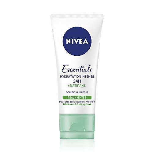 NIVEA Soin de Jour Essentials 24H Hydratation Intense +Matifiant (1 x 50 ml), crème hydratante visage, soin femme & homme enrichi en minéraux et antioxydant