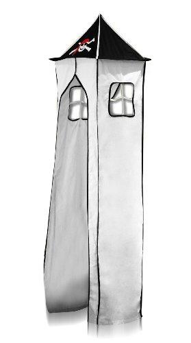 Turm für Hochbett Spielbett Turmstoff inkl. Gestell - Pirat (Schwarz/Weiß) für Hochbett - TGS-67