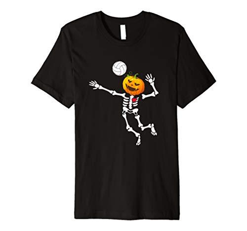 VOLLEYBALL Skelett Halloween Shirt Kürbis Kopf