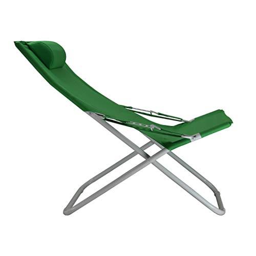 Fauteuil inclinable maison chaise de bureau pause déjeuner chaise siesta toile Sun Beach chaise extérieure renfort chaise simple (Couleur : Green)