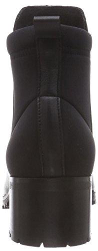 Pieces Psvalah Leather Boot Black Noos, Bottes non-à enfiler, tige mi-haute femme Noir - Noir