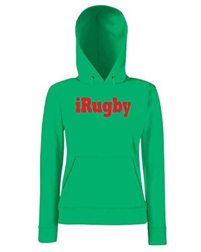 T-Shirtshock - Sweatshirt a capuche Femme TRUG0175 i rugby logo Vert