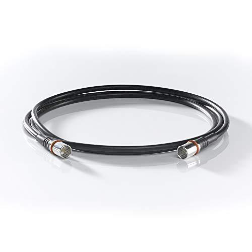WISI Modem-Anschlusskabel DS 50 U 0150 mit zwei F-Quick-Steckern – 3-fach geschirmt, Klasse A++, >105dB – Für DVB-T, DVB-T2, DVB-C, DVB-S & DVB-S2 – Ø 5mm, 1,5m, schwarz