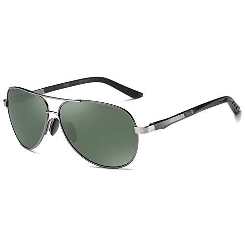 WULE-Sunglasses Unisex Schwarz/Grün Lens Gun Frame Männer und Frauen mit der gleichen treibenden Sonnenbrille Trendige vielseitige polarisierte Neue Sonnenbrille aus PC-Material (Farbe : Green)
