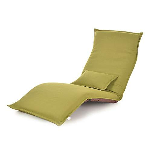 YXNN Strand-Lounge-Stuhl Mit Kissen - Multi-Winkel Verstellbarer Bodenstuhl Lazy Couch Stahlplatte Unterstützung Outdoor-Freizeit-Sitz Faltbar Tragbare 180x60cm (Farbe : Grün) -