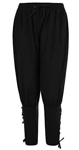 Runyue Pantalones de Hombre Medievales Harem Pantalones Casuales Vikingo Suelto Halloween Ropa Negro L