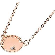 AieniD Plata Esterlina Collar para Mujer Circular Diseño de Engranajes Cadena Longitud:40+5CM