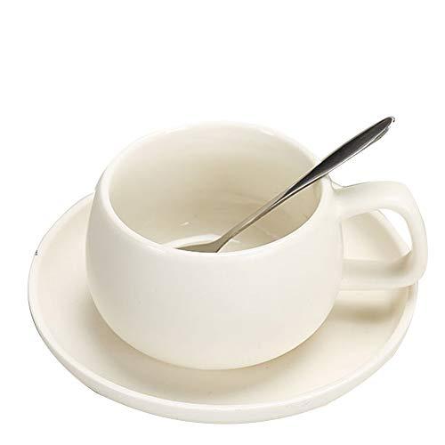 TELLW Teeheim Kreative Kaffeetasse mit Untertasse Löffel Knochenporzellan Mark Wassertasse Keramik...