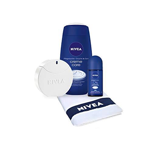 Geschenkset für Damen mit NIVEA Eau de Toilette Pflege-Duft in Parfum-Flakon (1 x 30 ml), Creme Care Duschgel, Protect & Care Roll-On Deo und Gäste-Handtuch (Gast Handtücher)