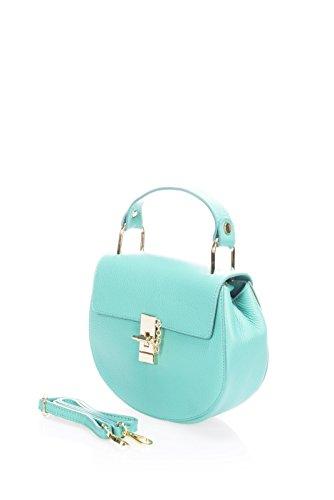 Show Some Love Grazia Italienische Damen-Handtasche Schulter-Umhänge-Tasche Echt-Leder made in Italy Türkis