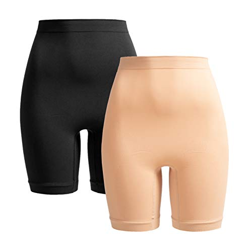 Verlängerter Bund (Herzmutter Shaping-Unterwäsche-Shapewear Damen | Bauchbinde-Slip-Miederhose zur Rückbildung | stützend nach Geburt-Schwangerschaft-OP | 1er & 2er-Set | 5620 (L/XL, Schwarz|Beige))