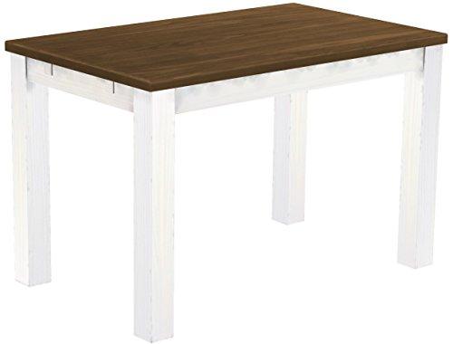 Brasilmöbel Esstisch, Pinie Massivholz, geölt und gewachst Nußbaum/weiß, L/B/H: 120 x 73 x 78 cm
